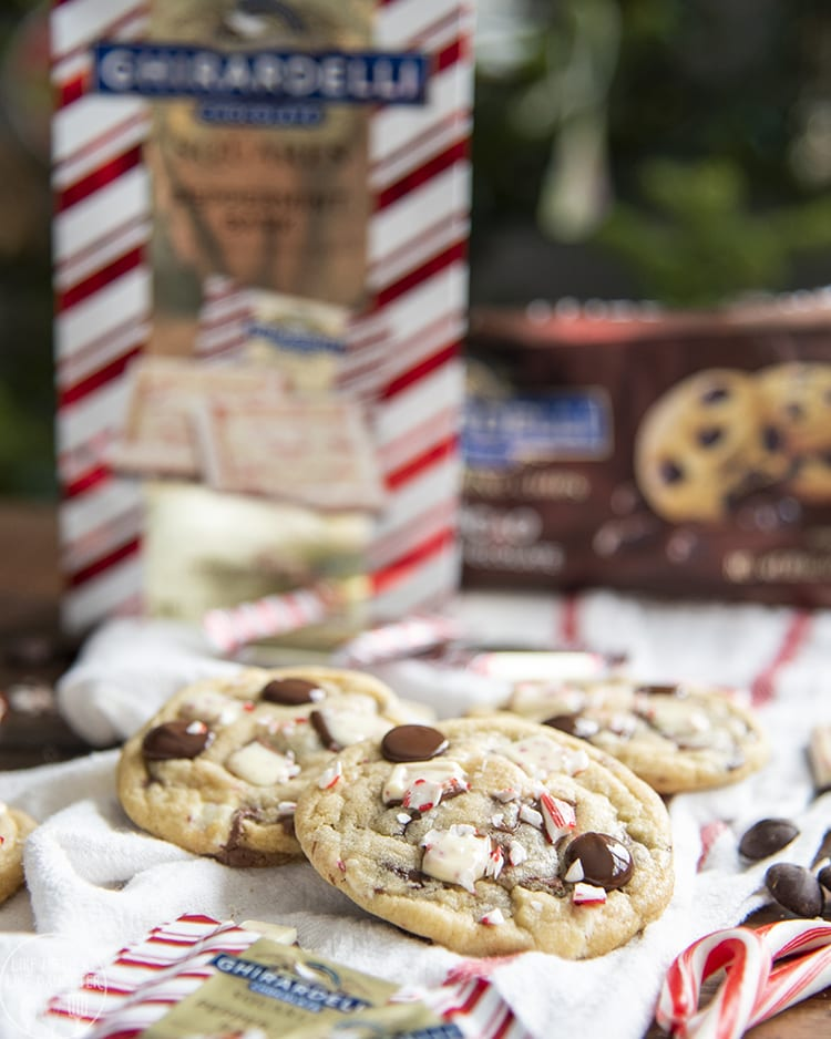 Peppermint Bark Cookies with Ghiradelli peppermint bark and chocolate chips in every bite