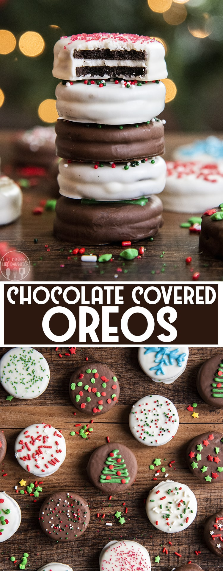 Chocolate covered Oreos are a tasty three ingredient treat that is so fun for a simple dessert, or party food. They can be decorated for a variety of different holidays!