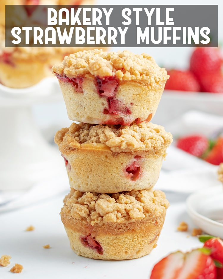 These Bakery Style Strawberry Muffins are sweet, moist, and big strawberry muffins topped with a delicious cinnamon streusel crumb topping.