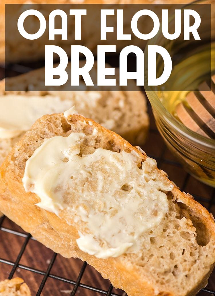 Oat Flour Bread is made with a mix of all purpose flour, oat flour and whole oats for a hearty bread loaf that is perfect slathered with butter and honey!