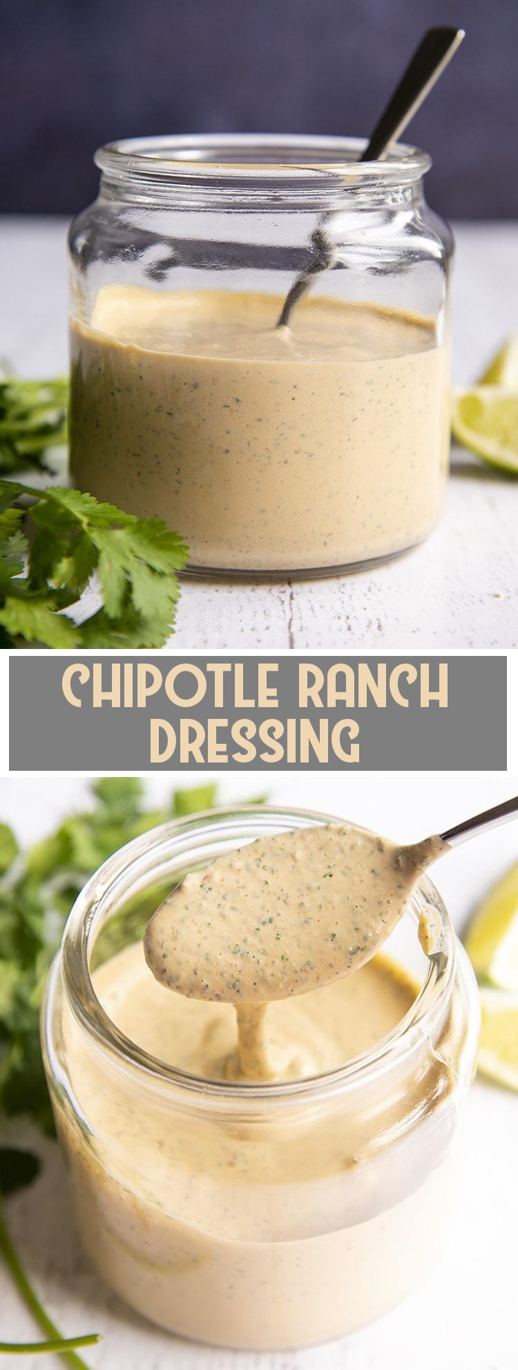 Chipotle Ranch Dressing in a jar with text overlay for pinterest