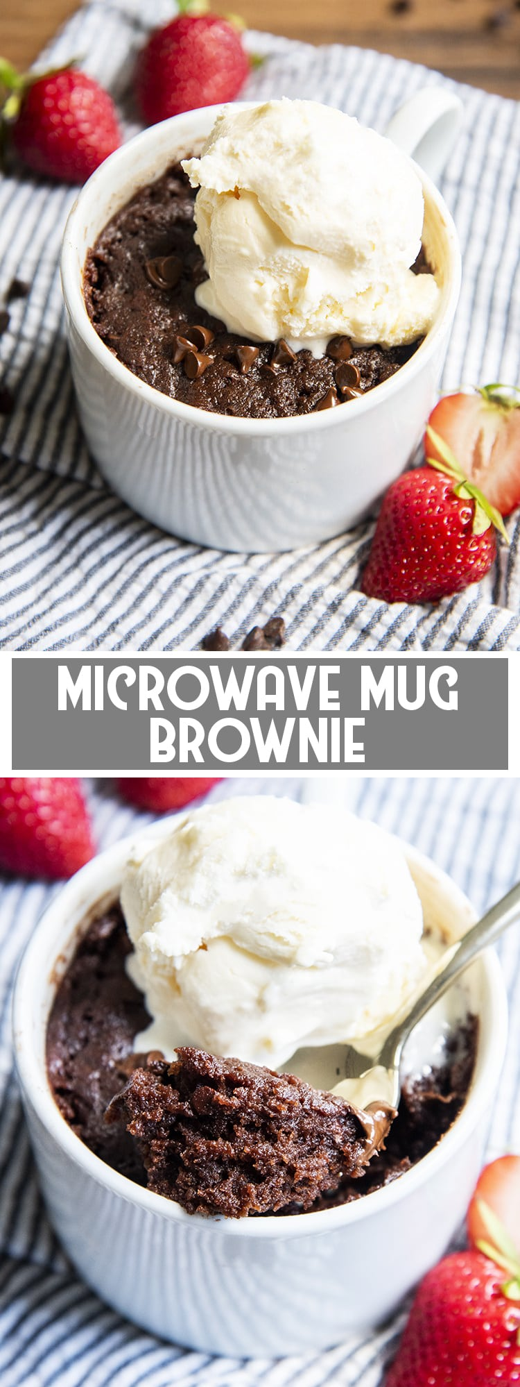 Chocolate Mug Brownie with Vanilla Ice cream on top with text overlay for pinterest