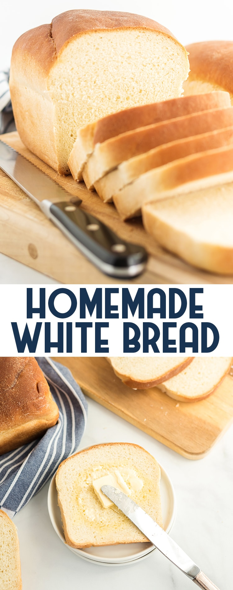 A loaf of white bread cut into slices with text overlay for pinterest