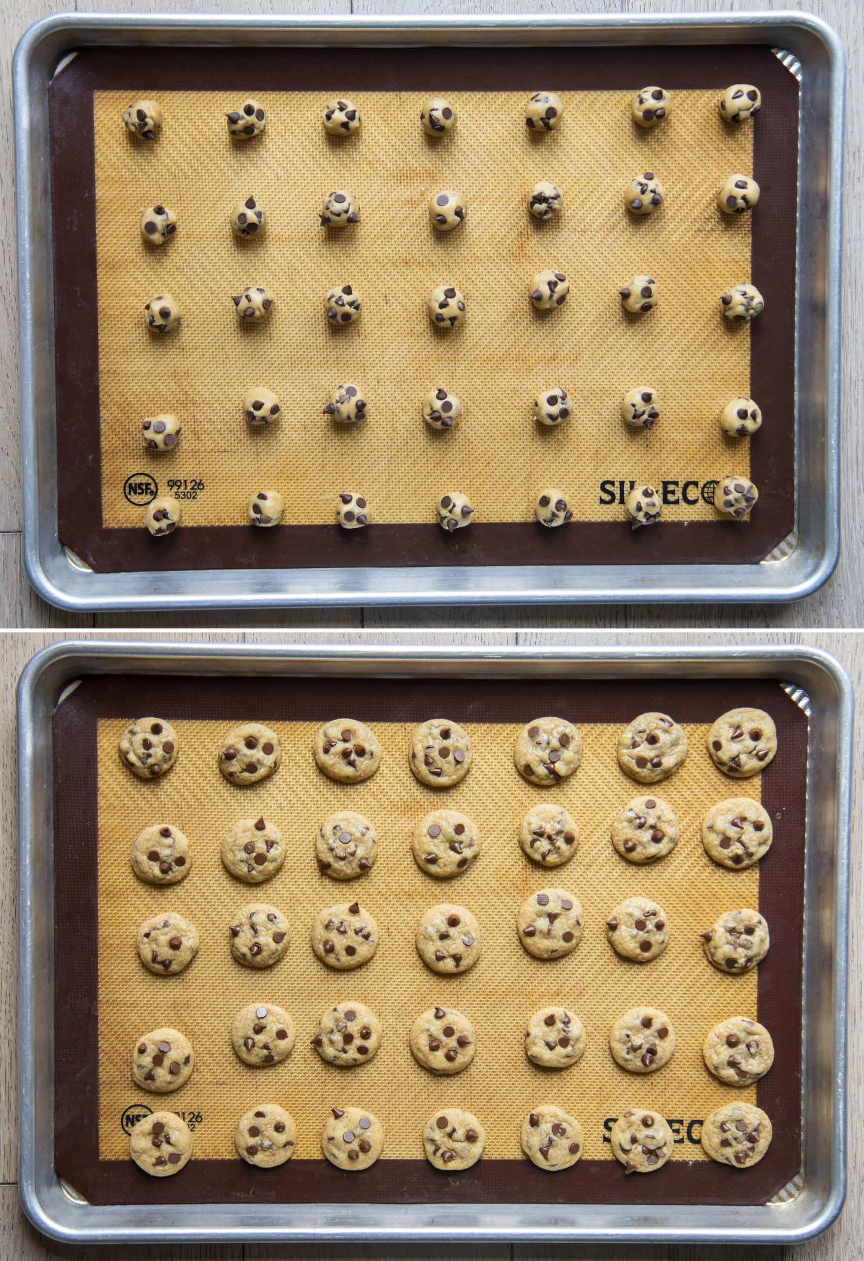 Trays of mini chocolate chip cookie dough balls and cookies after they are baked