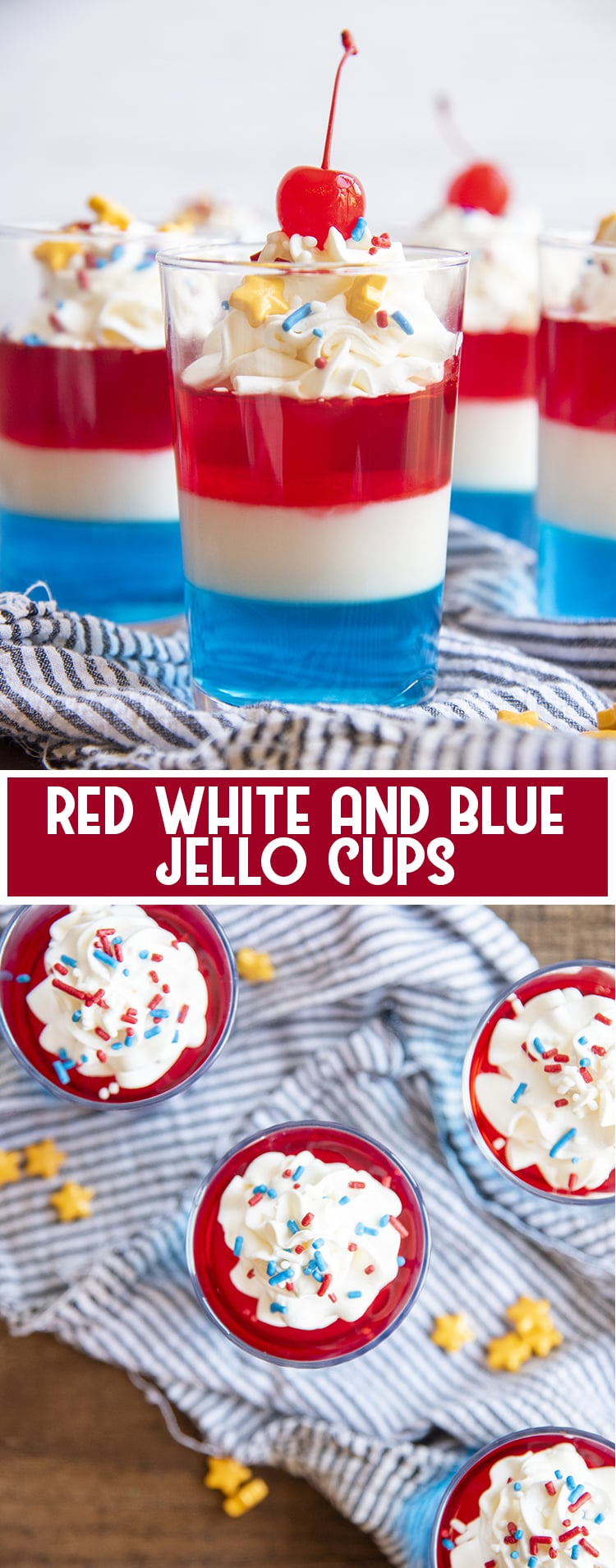 Layers of Red White and Blue Jello in a cup with whipped cream and a cherry on top with text overlay for pinterest