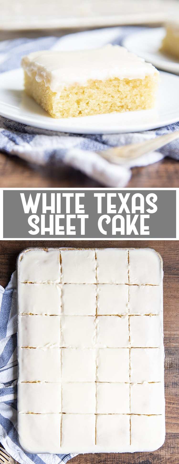 White Sheet Cake with vanilla icing on a plate with text overlay saying white texas sheet cake for pinterest