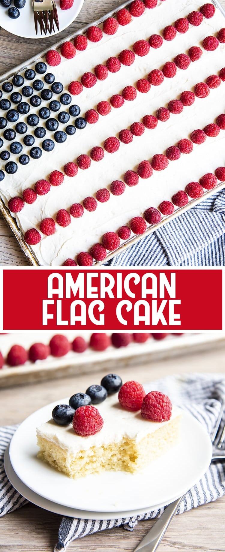 White Sheet Cake decorated with berries to look like the American flag