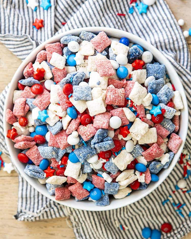 Red, White and Blue Muddy Buddies in a big white bowl.