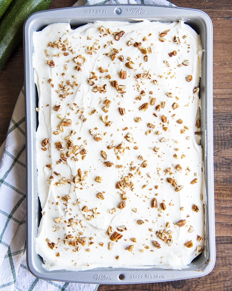 Zucchini Cake with Cream Cheese Frosting in a 9x13 pan.