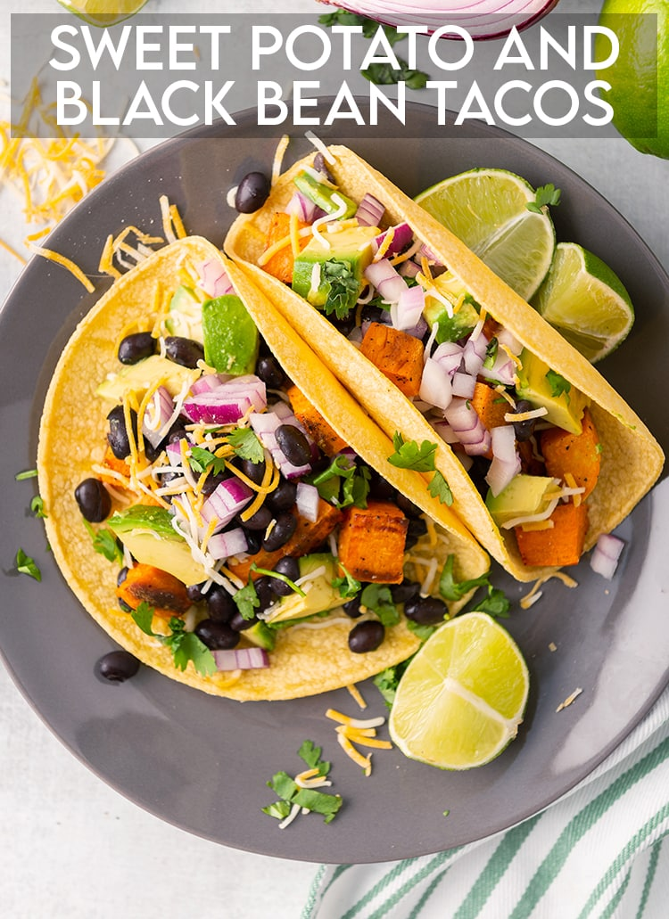 Sweet potato black bean tacos on corn tortillas with avocado, cilantro and red onion with text overlay for pinterest.