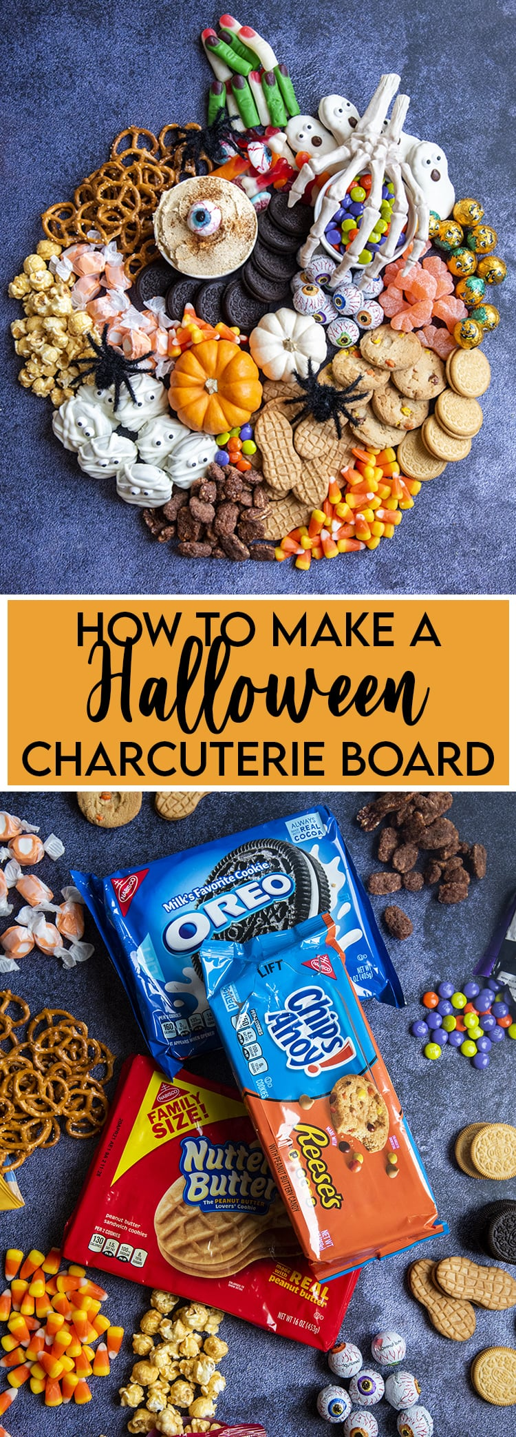 A collage of two photos how to make a Halloween charcuterie board, with a pumpkin shaped charcuterie board and a pile of halloween treats in the second photo.