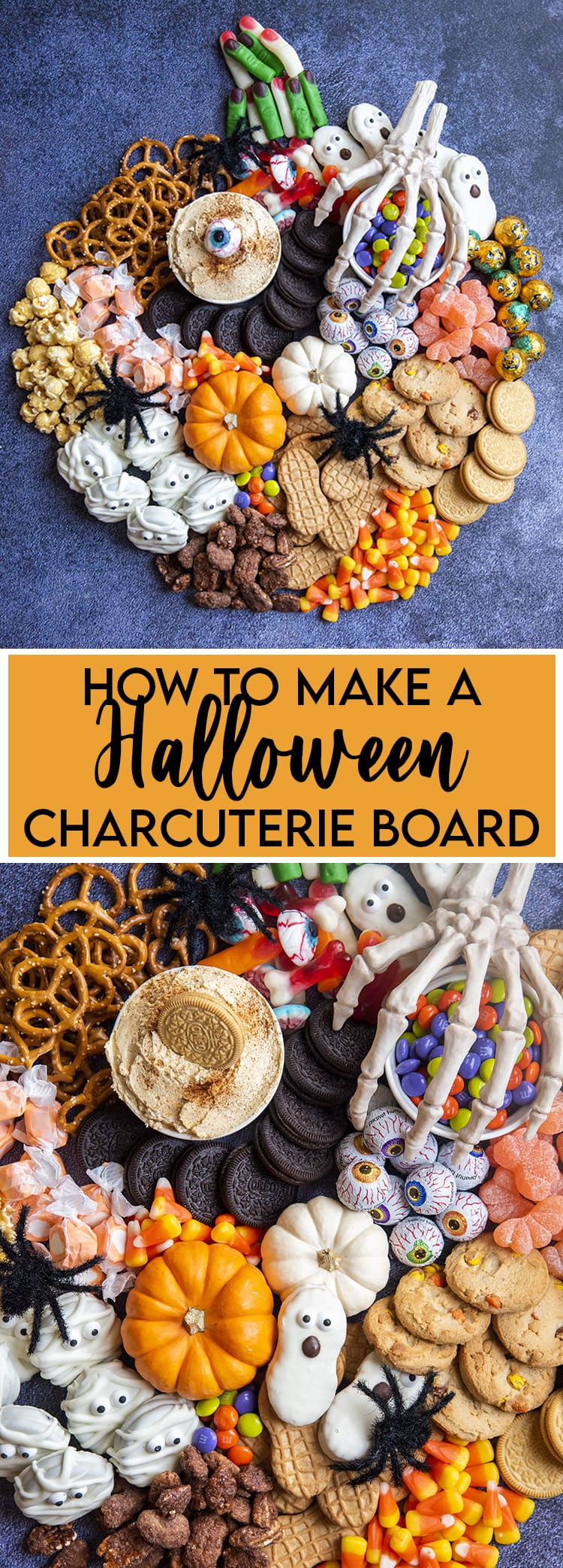 A collage of photos of how to make a halloween treat charcuterie board. The first photo is a pumpkin shaped charcuterie and the second is a close up of the snacks with nutterbutters, oreos, pretzels, candy and more.