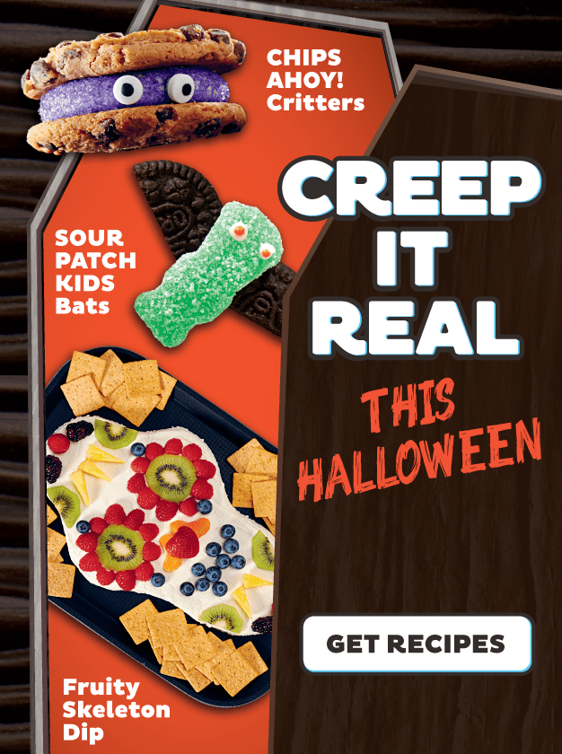 A Walmart Ad for Mondelez treats with a Chips Ahoy cookie sandwich made to look like a monster, sour patch kids bats, and a fruity skeleton dip. And it says Creep it Real This Halloween across it.