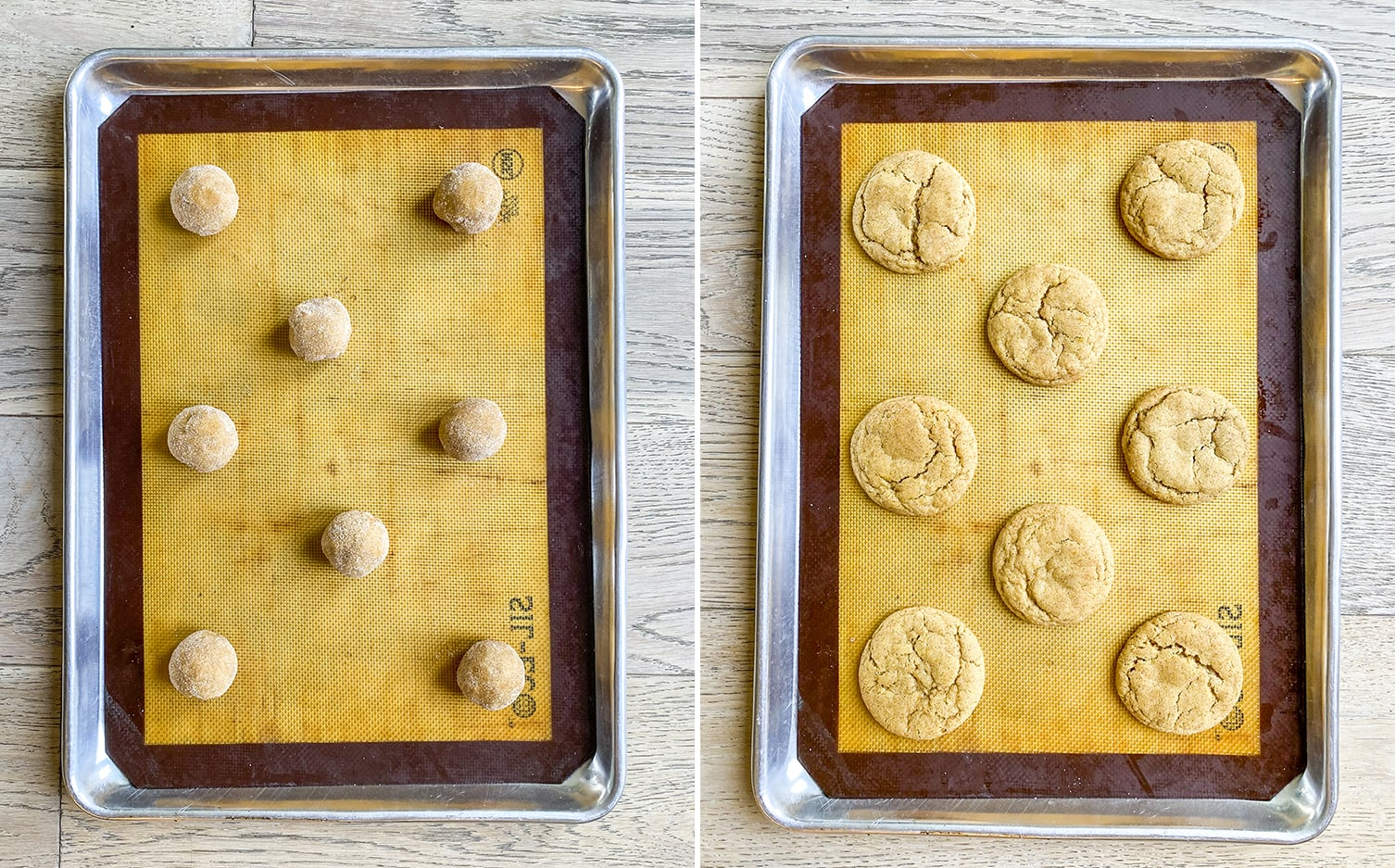 A shot of pumpkin snickerdoodle cookie dough balls on a cookie sheet. Then another of the cookies after they are cooked, on the same pan.