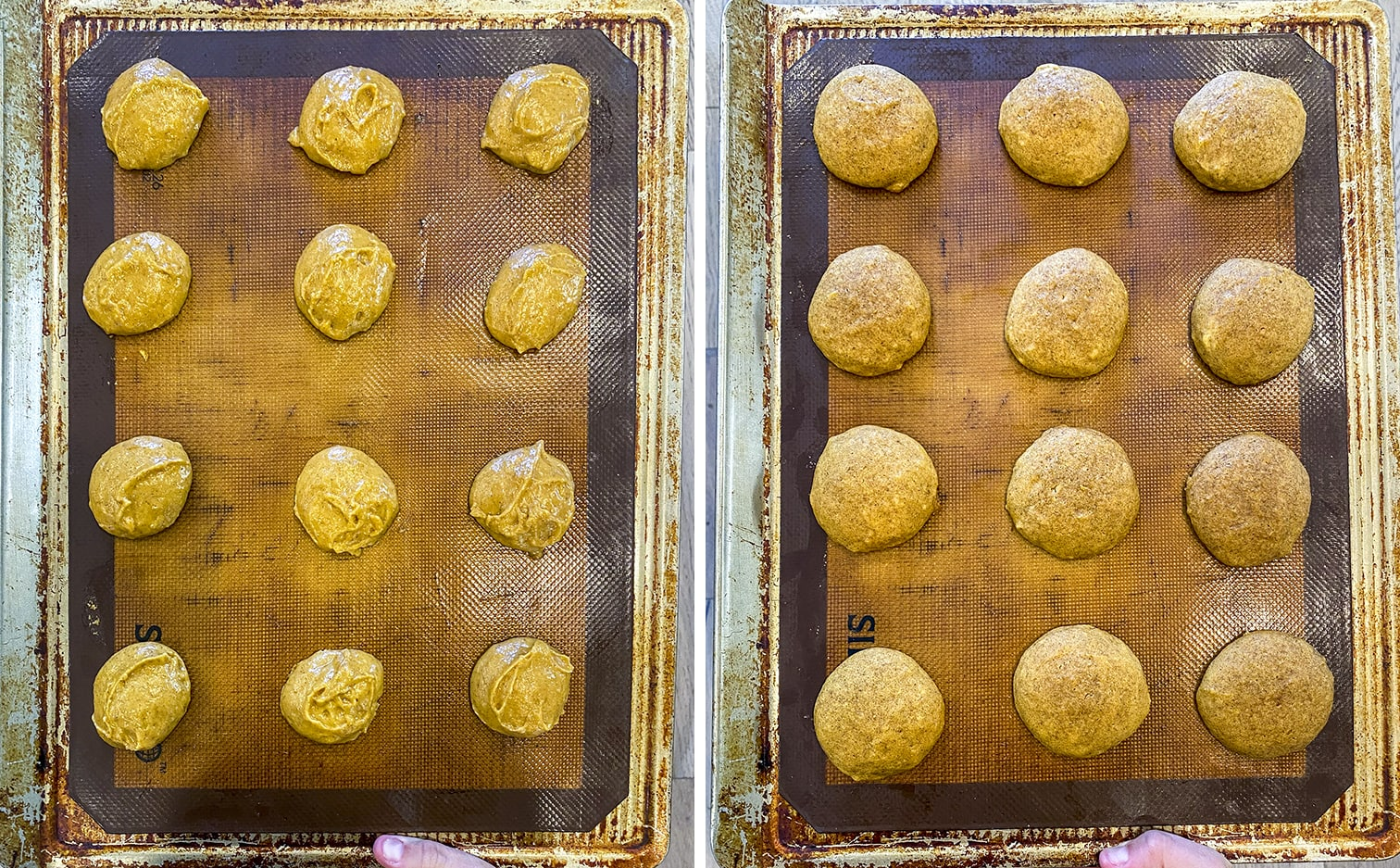 A pan of pumpkin whoopie pie dough. Then a pan of the pumpkin whoopie pies baked.