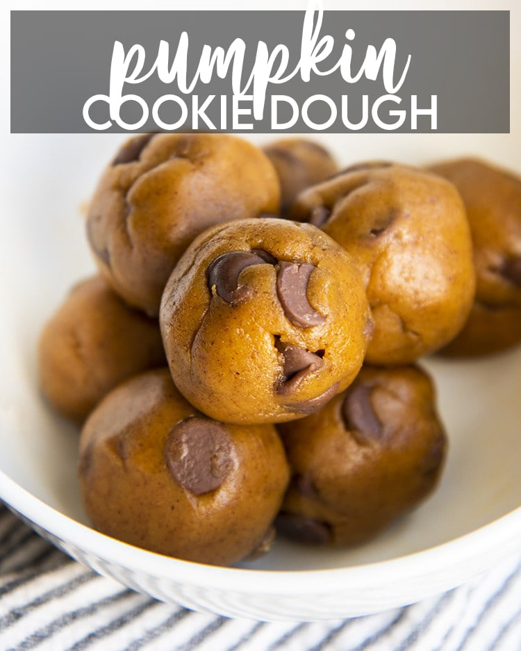 Chocolate Chip Pumpkin Cookie Dough balls in a white bowl with text overlay for pinterest.