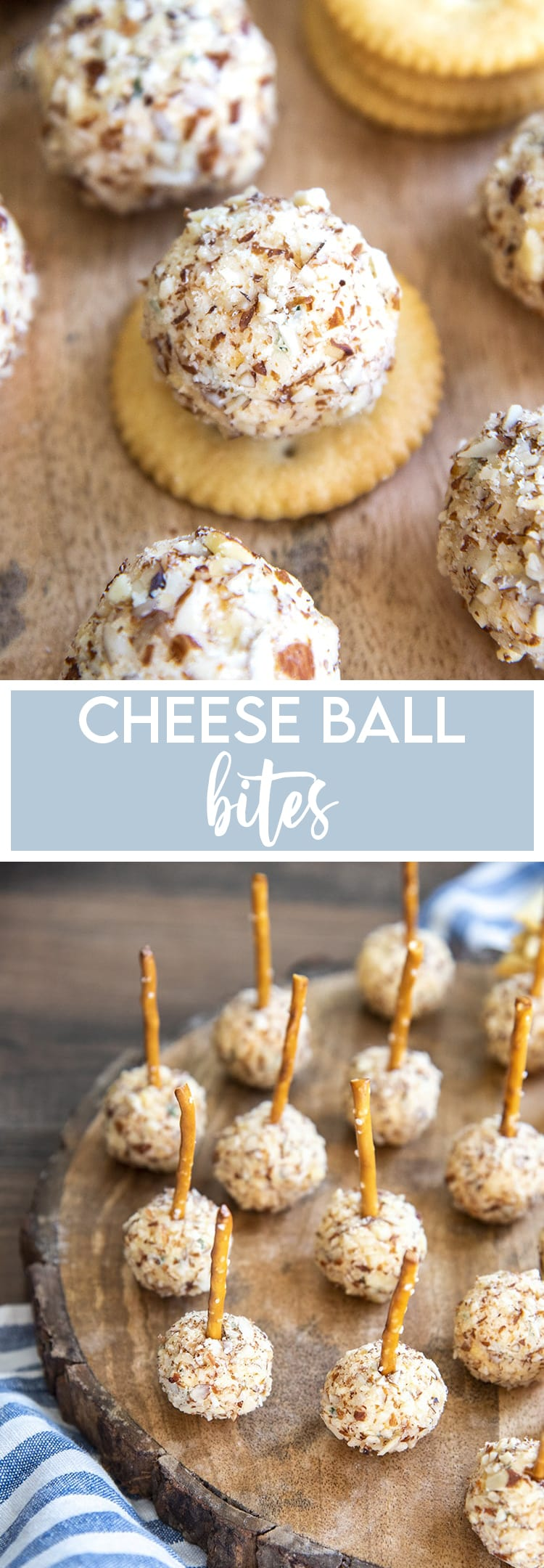 A collage of two photos of cheese ball bites, the first is a mini cheese ball bite on a round butter cracker. The second is a bunch of mini cheese ball bites with pretzels in them on a round wooden cutting board.