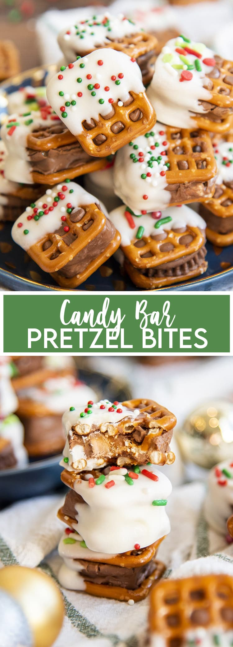 A close up of a plateful of candy bar pretzel bites, with a text overlay at the bottom for pinterst. Then a photo underneath with a stack of candy bar pretzel bites, and the top is bitten in half to show the candy bar.
