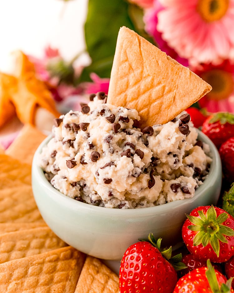 A bowl of cannoli dip sprinkled with mini chocolate chips, with a triangle shaped crepe cookie sticking in the dip.