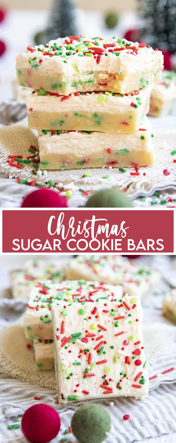 A stack of sugar cookie bars filled with red and green jimmie sprinkles, and topped with a white frosting, and more sprinkles, with a text overlay for pinterest. Then a photo of a cookie bar on it's side showing the top covered in Christmas sprinkles.