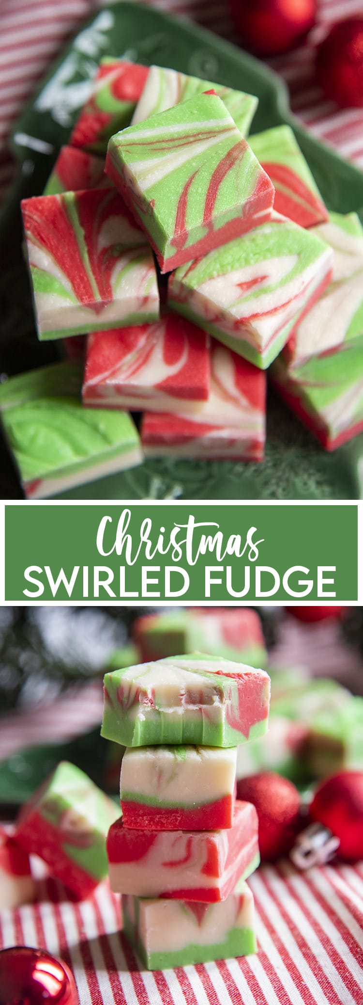 A pile of white chocolate microwave fudge, that is swirled with red and green colors throughout with a text overlay at the bottom for pinterest. Then a stack of the fudge, the top piece has a bite taken out of it.
