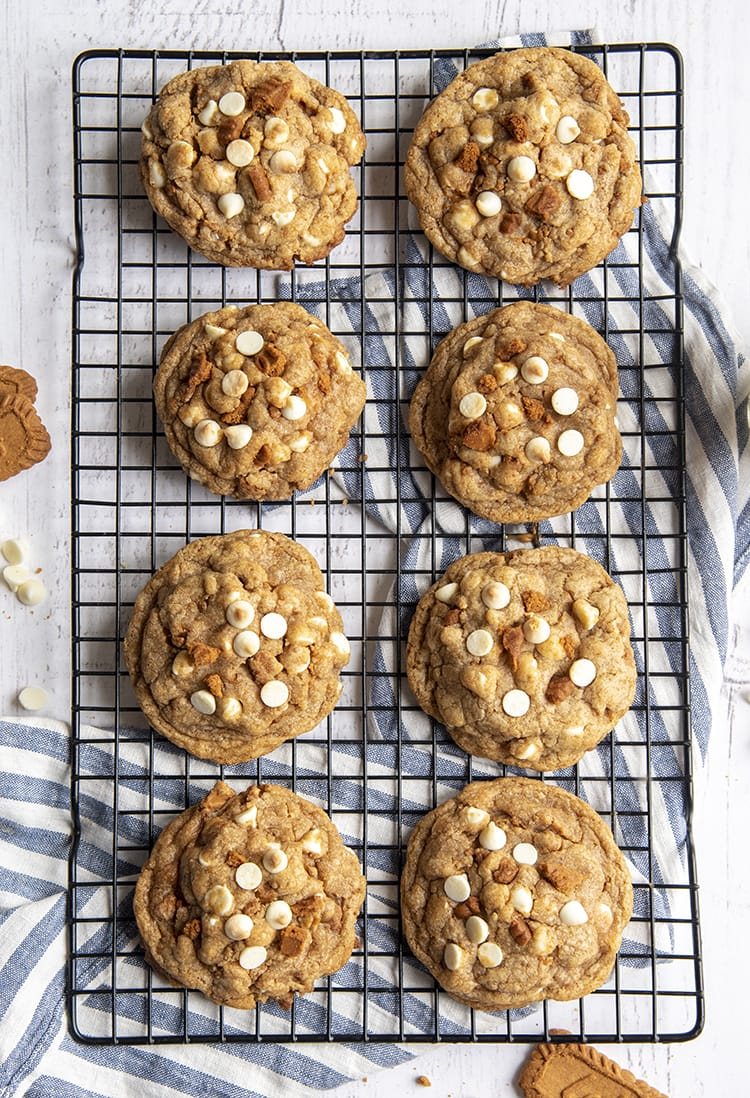 There are 8 big cookies on a cooling rack. The cookies are topped with white chocolate chips, and tiny broken pieces of Biscoff Cookie.