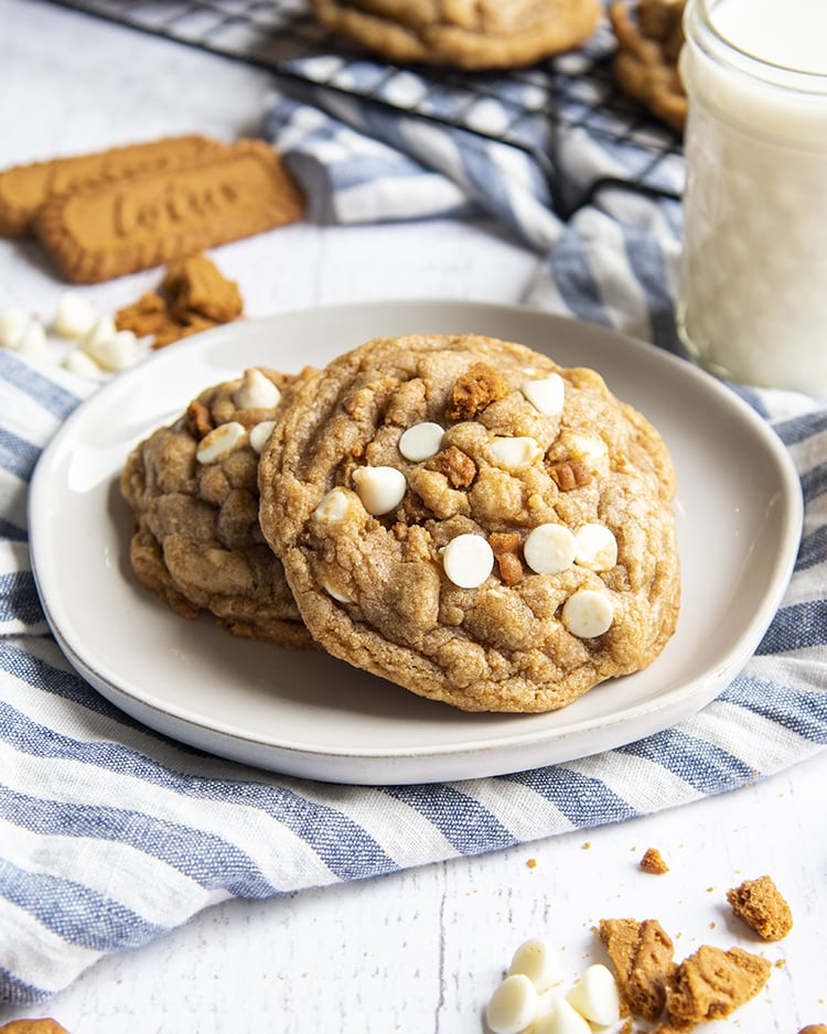 Two giant cookies on a small plate. The cookies have crumbled pieces of Lotus Biscoff Cookies and white chocolate chips on the top. There is a blue and white striped towel underneath and two Biscoff cookies laying behind the plate.