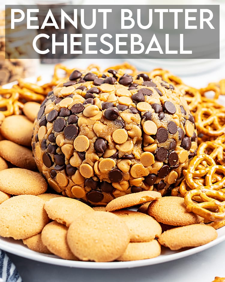 """A peanut butter cheese ball wrapped in chocolate chips and peanut butter chips on a plate with pretzels and cookies, there is a text overlay at the top that says """"Peanut Butter Cheeseball"""""""