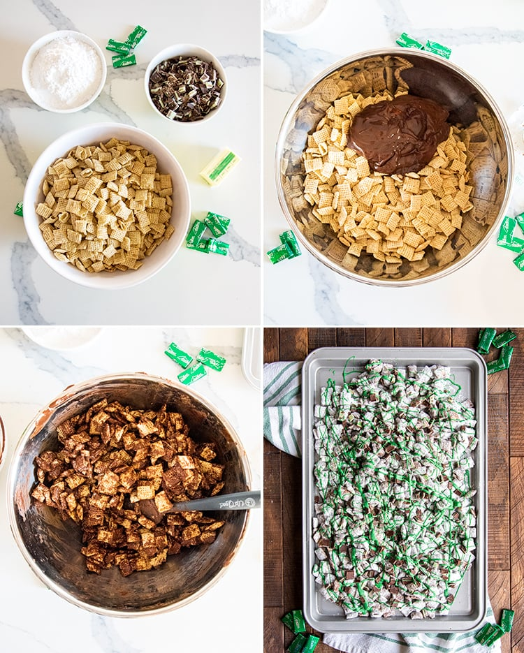 Step by step photos showing how to make mint muddy buddies. Showing the ingredients in the first photo, powdered sugar, chopped up Andes Mints, butter, and Chex cereal.