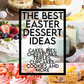 A collage of 10 of the desserts featured in this post with a text overlay for pinterest. There are Rice Krispie Treats, a slice of Coconut Cake, Mini Easter Egg Cheesecakes, A Banana Pudding Trifle, Pavlova, Robin Egg Cake, Strawberry Cupcakes, Cadbury Mini Egg Cookie Bars, Lemon Cream Pie, and lemon poke cake.