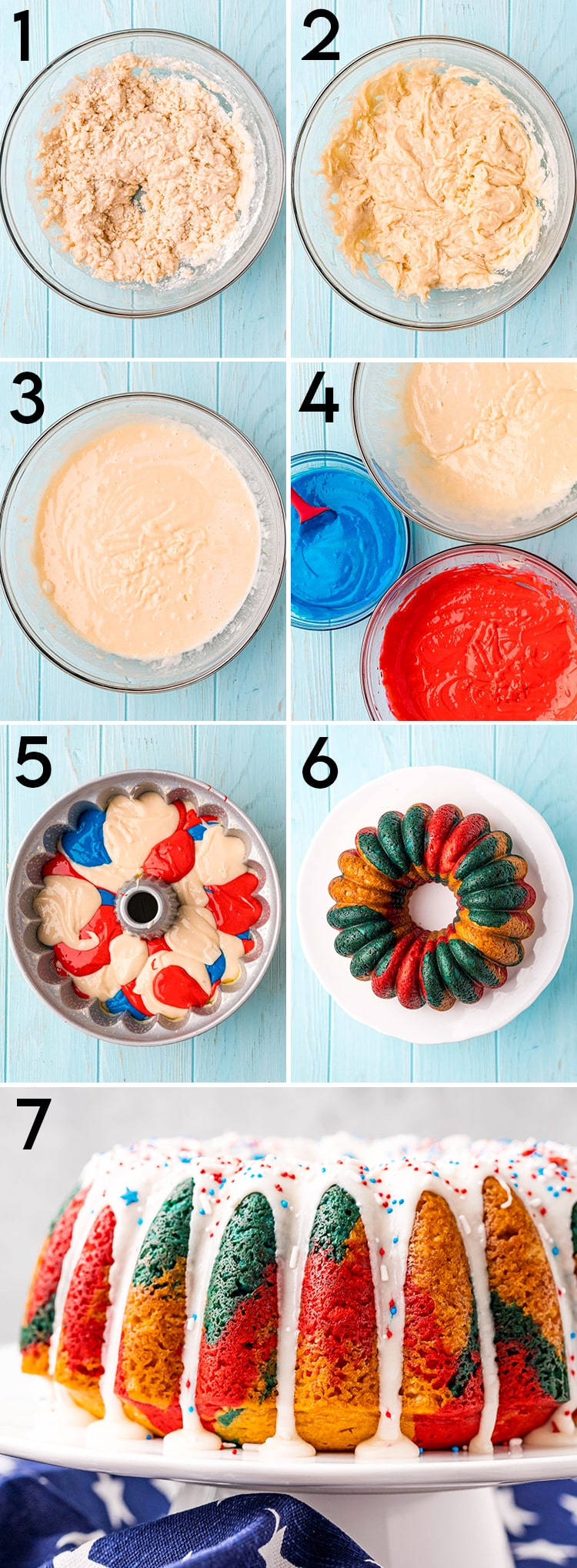 7 step by step photos showing how to make a patriotic bundt cake that starts with a cake mix, showing the cake batter mixed up in a bowl, then adding the colors, adding the spoonfuls to the pan, and baking it up.