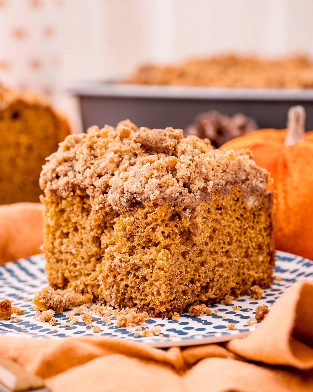 Pumpkin coffee cake on a plate.