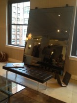 Huge Mirror with Leather Bench and wood magazine rack