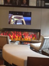 Living Room area showing the class on TV.