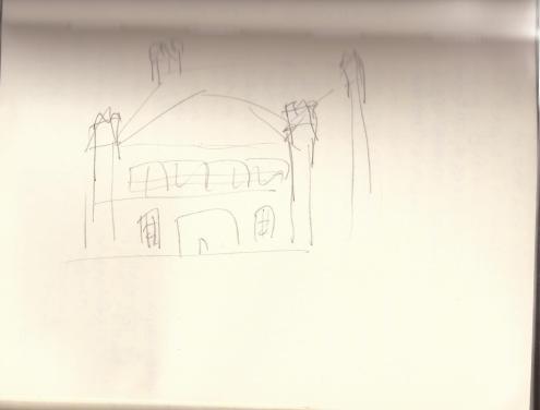 A very rough exterior sketch of Greythorne Manor.