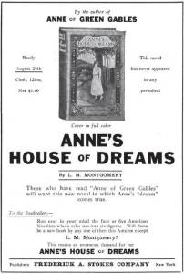 Ad for Anne's House of Dreams, The Bookseller, Newsdealer and Stationer, 15 August 1917.