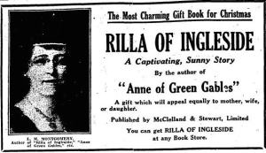Ad for Rilla of Ingleside, Toronto Daily Star, 16 December 1921.