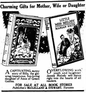 Ad for Rilla of Ingleside and Little Miss Melody, by Marian Keith, The Toronto Daily Star, 19 December 1921.