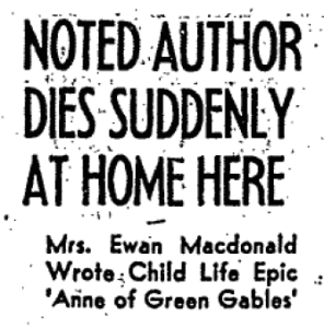 "Source: ""Noted Author Dies Suddenly at Home Here,"" The Globe and Mail (Toronto, ON), 25 April 1942, 5."