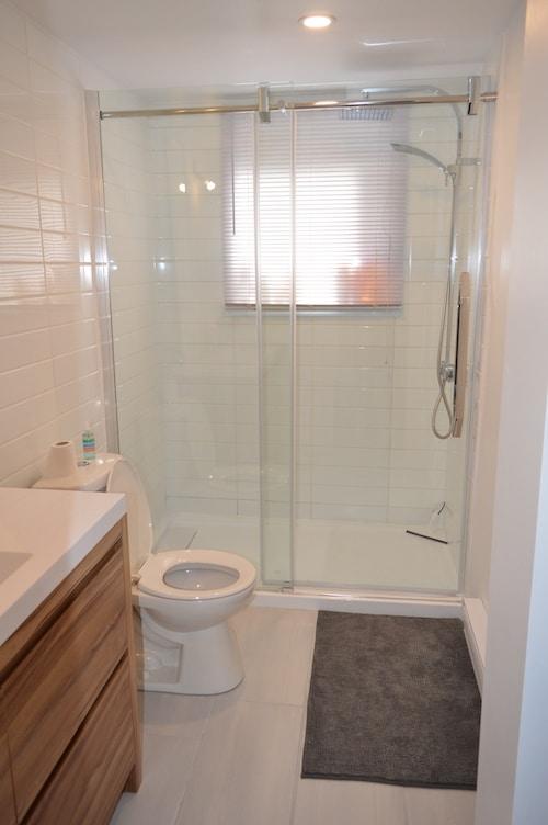 Salle de bains avec douche et WC (pièce commune)