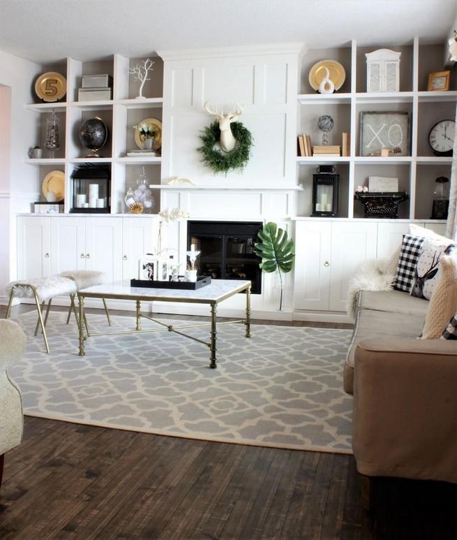 16 Elegant Living Room Shelves Decorations Ideas 11