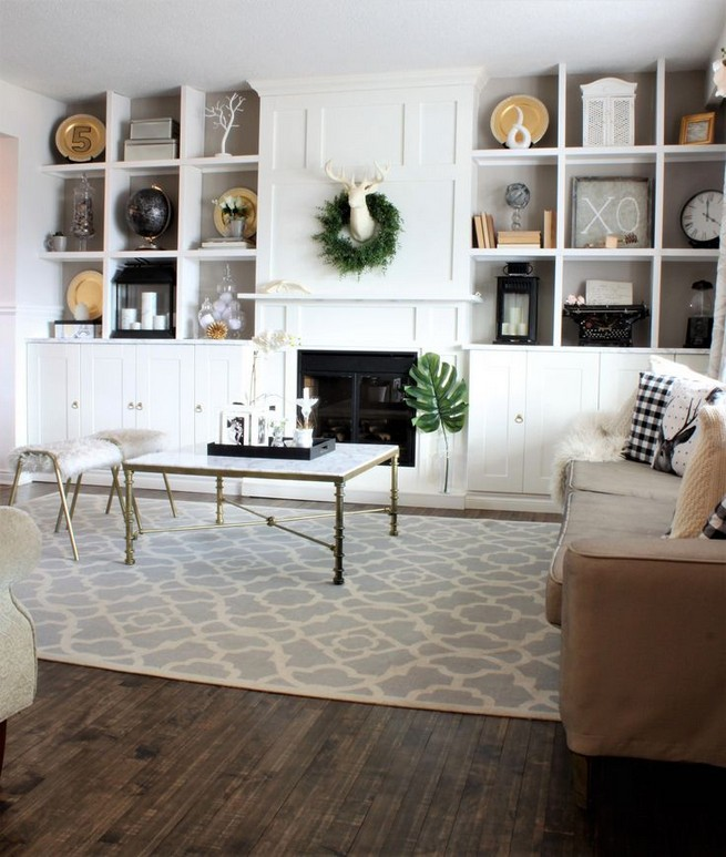 16 Elegant Living Room Shelves Decorations Ideas 11