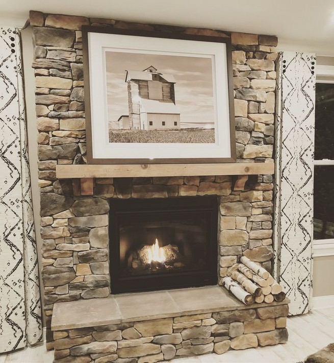 18 Popular Rustic Painted Brick Fireplaces Ideas 04