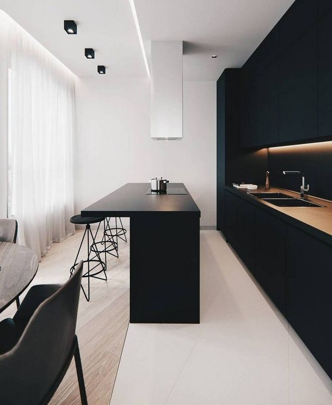 21 Inspiring Black And White Wall Design Ideas For Kitchen 28