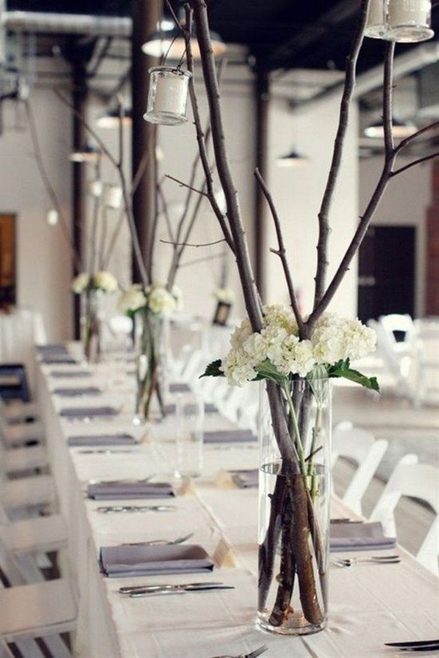 21 Romantic Rustic Winter Wedding Table Decoration Ideas 15