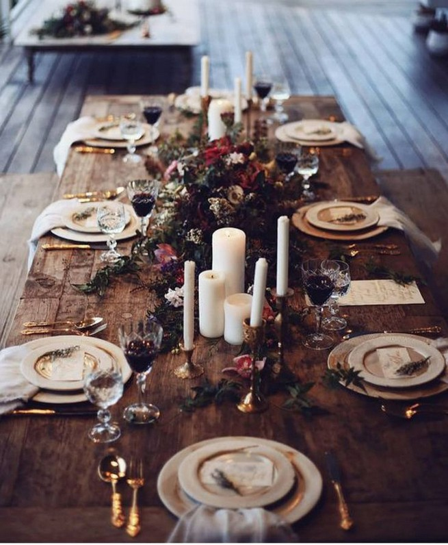21 Romantic Rustic Winter Wedding Table Decoration Ideas 33