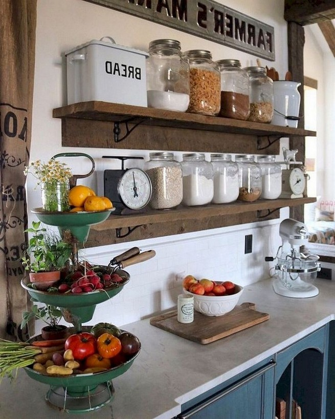 21 Stylish Rustic Kitchen Decor Open Shelves Ideas 40