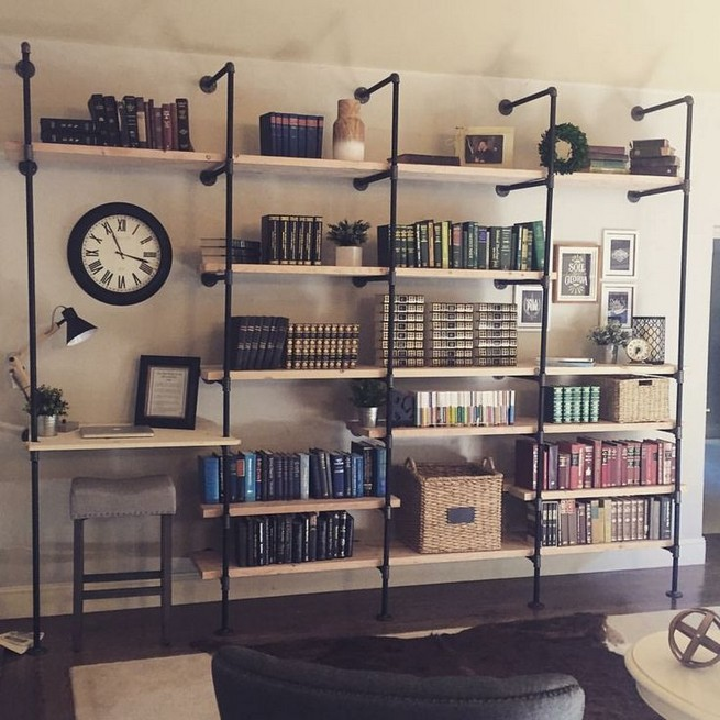 23 Awesome Industrial Wall Bookshelves Designs Ideas 30