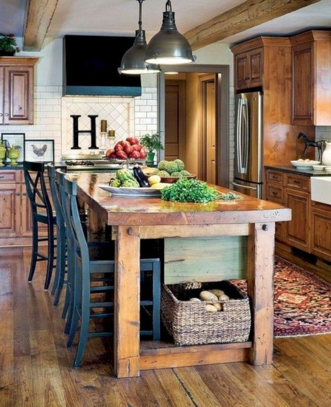14 Stunning Vintage Wooden Kitchen Island Decor Ideas 26
