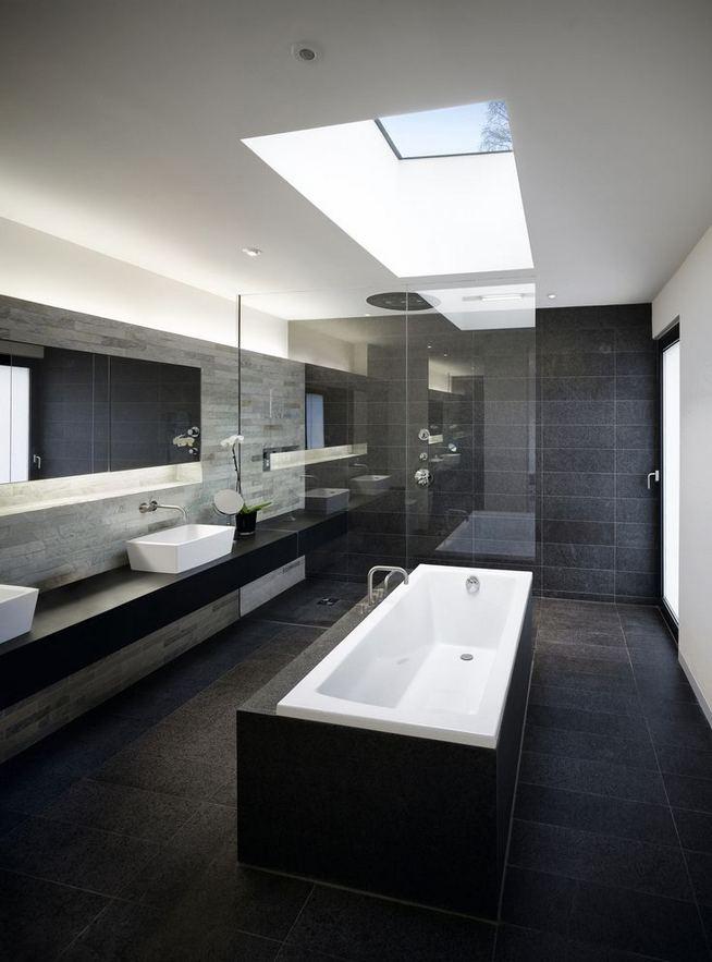 15 Awesome Black Floor Tiles Design Ideas For Modern Bathroom 10